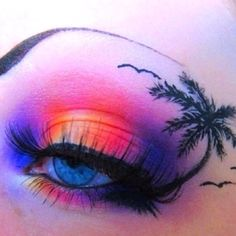 Exotic creative eye make-up! Crazy Eye Makeup, Creative Makeup Looks, Eye Makeup Art, Eye Art, Cute Makeup, Makeup Geek, Exotic Eye Makeup, Fox Makeup, Alien Makeup