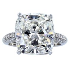 7.82ct Cushion Cut  Diamond Solitaire Ring | From a unique collection of vintage  rings at http://www.1stdibs.com/jewelry/rings/engagement-rings/