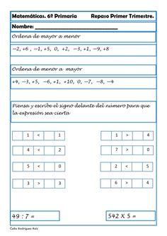Recursos para el aula; Ejercicios de Matemáticas para Sexto de Primaria Cerramos el repaso a la primera evaluación en primaria