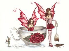 Amy Brown Print Fairy Tea and Strumpets Cup Faeries NEW in Collectibles, Fantasy, Mythical & Magic, Fairies Gothic Fantasy Art, Beautiful Fantasy Art, Fantasy Artwork, Amy Brown Fairies, Fairy Pictures, Fairy Figurines, Love Fairy, Tea Art, Mythological Creatures