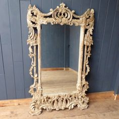 Large ornate carved French mirror.  This beautiful French mirror is a large and impressive piece. Ornately carved with scroll motifs and trailing foliage, this would be a stunning addition to any room.  #cheshire #reclamation #salvage #antiques #collectables #vintage #retro #home #garden #design #interiordesign #furniture #antique #design #reclaimed #rustic #industrial