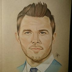 Chris Pratt drawing using Fabercastell polychromos on tanned paper by chalittlefairy #chrispratt #drawing #art