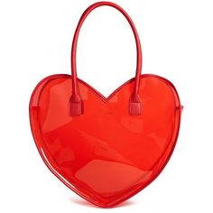 Forever21 Vinyl Heart Tote Bag found on Polyvore featuring bags, handbags, tote bags, red, tote handbags, red tote bag, red tote, handbags totes and clear tote bags