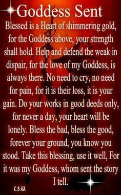 Book of Shadows: Goddess Sent. prayer and spell Wiccan Witch, Wicca Witchcraft, Eclectic Witch, White Magic, Magic Spells, Easy Spells, Luck Spells, Gods And Goddesses, Book Of Shadows