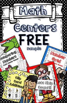 Math Centers FREE!! Includes: Skip Counting, Clip Card Addition, Number Grid Practice, and Comparing Numbers! For Kindergarten, 1st and 2nd Grades! More