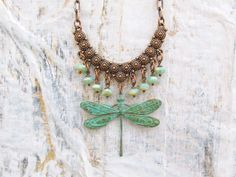 Dragonfly Necklace bohemian patina copper by Gypsymoondesigns, $32.00
