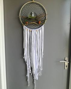 New natural dreamcatcher complete and for sale (SA only) Double terminated AB Aura Quartz hanging in the middle with an airplant and Bottle Charms, Air Plants, Crystal Jewelry, Dream Catcher, Middle, Abs, Quartz, Crystals, Natural