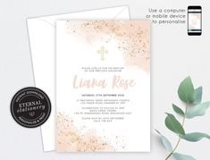 Blush Pink and Rose Gold Christening/Baptism Invitation, Girl, Baptism, Christening, Watercolour, Editable Template, Baby Girl, Liana Girl Baptism, Christening Invitations, First Event, Photo Center, Premium Fonts, Blush Pink, Watercolour, Stationery, Rose Gold