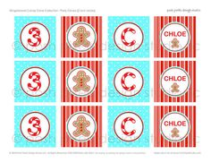 PARTY CIRCLES - Printable Birthday Party Circles - 2 inch - Red and Aqua…