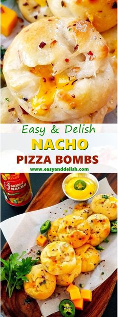 Nacho Pizza Bombs that can be easily made with store-bough pizza crust, nacho sauce, bacon, cheese, jalapeno, and herbs. They make the perfect bites for games and casual entertaining.
