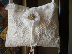 SALE - Lace Purse - Vintage Inspired Purse - Hip Bag - Vintage Linens and Lace - Shabby Chic - Victorian. $30.00, via Etsy.