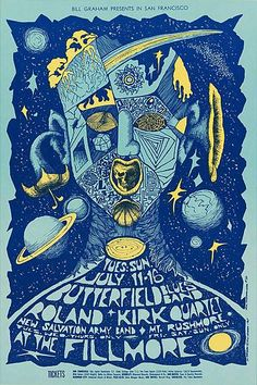 Butterfield Blues Band at Fillmore 11-16 July 1967. Art by BONNIE MacLEAN