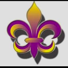 Purple and Gold Fleur de Lis