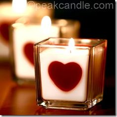 """Homemade Love Candles""  I want to try to make these!  How fun for Valentine's Day :)"