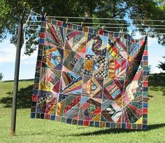 Crazy Quilt Made From Vintage Neckties, hand embroidered, at Postcardy