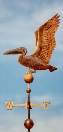 Pelican Weathervane - Sitting - West Coast Weathervanes.