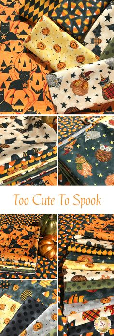 The Too Cute To Spook collection from Blank Quilting features smiling Jack-o-lanterns, candy corn, owls, and more great Halloween prints. Create a spooktacular quilt from this fabric line by Art By Bernie. Halloween Fabric Crafts, Christmas Fabric Crafts, Halloween Quilts, Halloween Projects, Fall Crafts, Bird Quilt, Rag Quilt, Quilt Blocks, Fabric Yarn