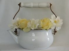 Vintage enamel tea kettle in white by moncyscottage on Etsy, $15.00