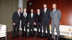 FIFA Ballon d'Or 2011 - FC Barcelona's Xavi, Iniesta, Dani Alves, Messi, Pique, and Coach Pep