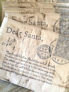Twas the night before Christmas . Take the kids Letters to Santa and copy them on fabric~ make a C'mas quilt for them~ Noel Christmas, Merry Little Christmas, Country Christmas, Winter Christmas, Vintage Christmas, Christmas Letters, Christmas Blessings, Victorian Christmas, Primitive Christmas