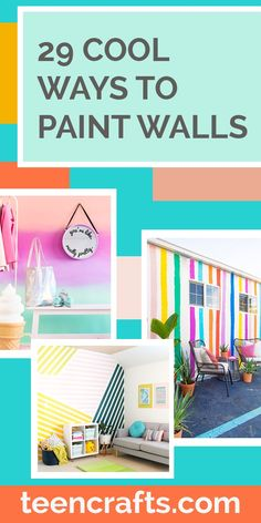Sponge Painting Walls, Painting Stripes On Walls, Paint Walls, Creative Wall Painting, Creative Walls, Diy Crafts For Teen Girls, Diy For Teens, Paint Chevron Stripes, Geometric Wall Paint