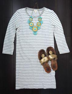 stripped shift dress + statement necklace + jack rogers