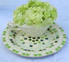 Vintage Tile Tray Set/2 Green & Brown   by LavenderGardenCottag