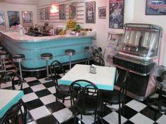 black and white and chrome works well with robin's egg blue Diner' in Baguio, Philippines- color inspiration 1950 Diner, Vintage Diner, Retro Diner, Vintage Stuff, 50s Diner Kitchen, Baguio Philippines, 1990 Style, Diner Restaurant, American Diner