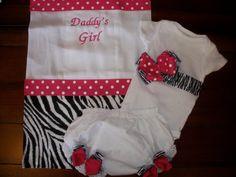 Zebra and Pink Polka Dot Layette Set. $36.00, via Etsy. Baby Girl Onsies, Daddys Girl, Pink Polka Dots, Bibs, Burp Cloths, Headbands, Girl Outfits, Rose, Clothes