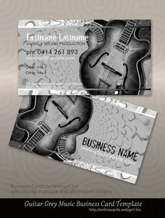 Guitar Music Business Cards : Grey Black Electric