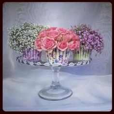 One of our vintagw glass cake stands, with floral yumminess by Hannah Morter at Vintage Rose Wedding Florist x Vintage Roses, Vintage Tea, Caravan Decor, Vintage Crockery, Cake Stands, Rose Wedding, Tea Party, Special Occasion, Glass Vase