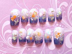 Summer SALE Fake nails Blue Japanese nail art nautical by Aya1gou, $18.41