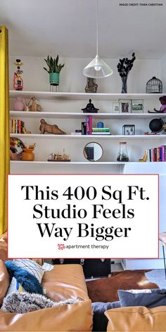 Tiara utilizes mirrors, tall ceilings, a lofted bedroom, and other smart decor choices to make her small studio apartment feel much larger than it actually is.  #studio #smallspaces #housetours #livingroomideas #livingroomhacks #livingroom #shelfideas #smallspaceideas #smallspacehacks Small Space Bedroom, Small Living Rooms, Tiny Living, Studio Apartment, Apartment Living, Apartment Therapy, Apartment Ideas, Shelves In Bedroom, Lofted Bedroom
