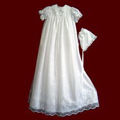 Christening Dresses | Embroidered Netting Christening Gown - Girls Christening Gowns ...