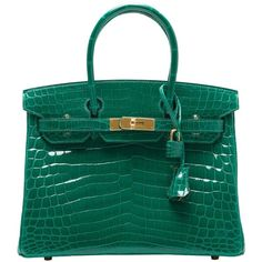 Pre-owned Hermes Emerald (Vert Emerude) Shiny Nilo Crocodile Birkin... (€103.845) ❤ liked on Polyvore featuring bags, handbags, handbags and purses, hermes birkin bags, top handle bags, croc embossed handbag, top handle handbags, blue handbags, pre owned handbags and hermes bag