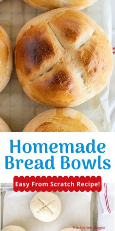 How to make bread bowls that are perfect to serve soups and dips in! An easy from scratch recipe that works every time! Low Carb Recipes, Bread Recipes, Cooking Recipes, Easy Recipes, Dessert Bread, Dessert Recipes, Creamy Spinach Soup, Homemade Bread Bowls, Breads