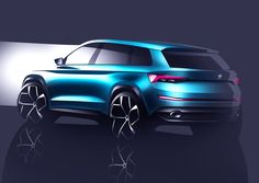 The rear of ŠKODA's VisionS has been sculpturally designed. A strong diffuser insert borders the large exhaust pipes, giving the large SUV a visually powerful stance on the road  #skoda #VisionS #sketch #designstudy #conceptcar