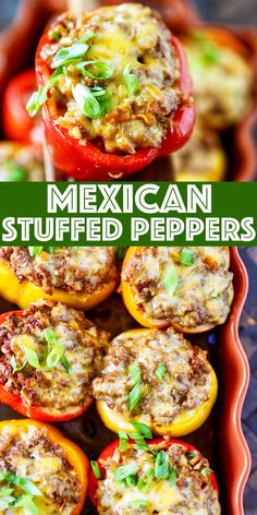 Mexican Stuffed Peppers - colorful flavor packed stuffed bell peppers filled with ground beef, spices, mexican rice, veggies, and cheese! Mexican Food Recipes, Beef Recipes, Dinner Recipes, Cooking Recipes, Healthy Recipes, Shrimp Recipes, Mexican Entrees, Meatloaf Recipes, Dinner Menu