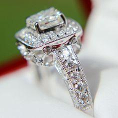 2 carats total Round and Cushion Cut Diamond by BeautifulPetra
