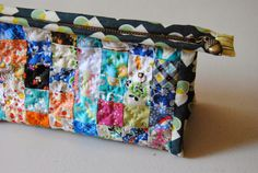 """1/4"""" mark hand quilted triangle pouch"""
