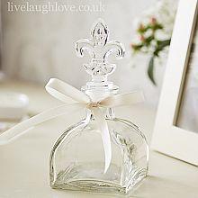 Fleur De Lis Glass Bottle with Ribbon