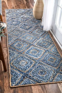 Boardwalk Hand Braided Jute Diamonds On Denim Blue Rug Rugs USA – Area Rugs in many styles including Contemporary, Braided, Outdoor and Flokati Shag rug Denim Rug, Braided Area Rugs, Carpet Size, Denim Crafts, Upcycled Crafts, Jute Rug, Natural Rug, Blue Area Rugs, Floor Rugs