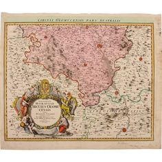 18th century map of the Olomouc Region Czech Republic by Johann