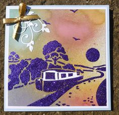 'Canal Hoilday' card.  Imagination Craft's -Copper mica powder.  Blueberry, Gooseberry fool,  Cherry pie,  Orchre, Avocado and Aubergine  Inkadinks. Misting pens.  'By the Canal' stencil.  Amethyst Sparkle Medium.  Metal spatula.   Marianne Design leaf die.  July 2014.