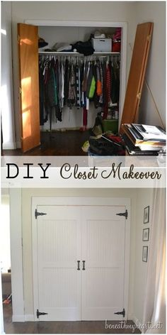 DIY Closet Door Ideas I had aCloset Door Makeover Reveal! {Dremel Weekends Not sold on the carriage door look, but bi-fold closet doors in the boys room is like asking for broken doors. Dremel, Home Renovation, Home Remodeling, Cheap Remodeling Ideas, Cheap Home Decor, Diy Home Decor, Porta Diy, Closet Door Makeover, Closet Makeovers