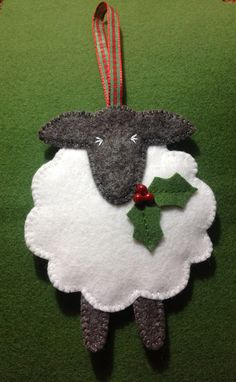 Festive felt sheep Christmas ornament