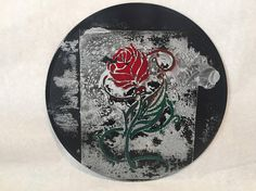 Rose on Black Art Wall Hanging 10 Upcycled Vinyl