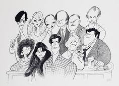 "Al Hirschfeld ~ Ted Danson, Kirstie Alley, Rhea Perlman, Al Rosen, George Wendt, John Ratzenberger, Bebe Niuwerth, Shelly Long, Kelsey Grammer, Roger Rees, and Woody Harrelson in ""Cheers"""