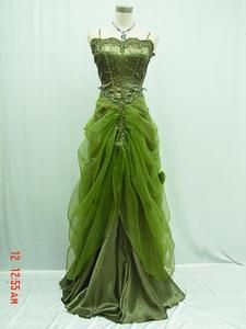 Green gown, absinthe fairy, steampunk