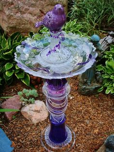 Glass Bird Bath, Glass garden art, yard art, repurposed recycled up cycled glass, unique garden .
